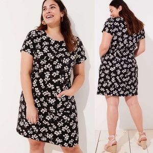 Loft Short Sleeve Floral Printed Dress Pockets
